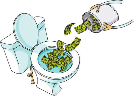 A cartoon showing a bucket of cash money being dumped into a clean, white porcelain toilet.