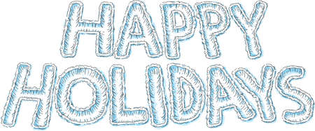 The text of the words Happy Holidays plowed into fresh, white snow.