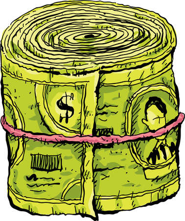A cartoon wad of cash money in a roll, held together by an elastic. Illustration