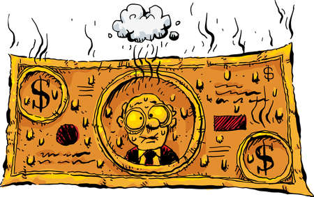 A bill of cartoon cash money that is steaming and sweating because it is so orange hot.