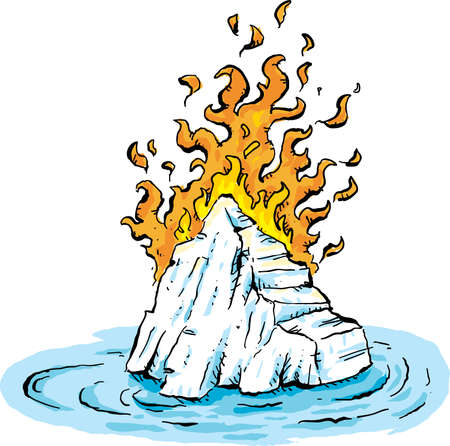 Cartoon of searing flames burning on a frozen, cold iceberg floating in water.