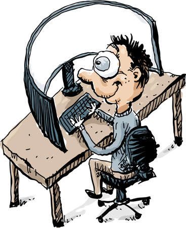 Cartoon of an office worker man sitting at a desk working on a workstation with an oversize, wide, curved computer monitor. Illustration