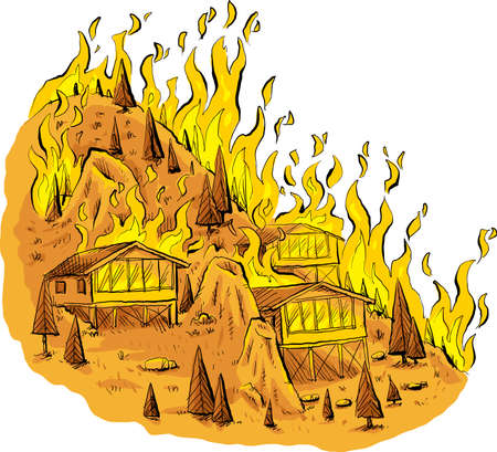 A cartoon of a blazing forest fire raging through trees and houses on a rocky hilltop.