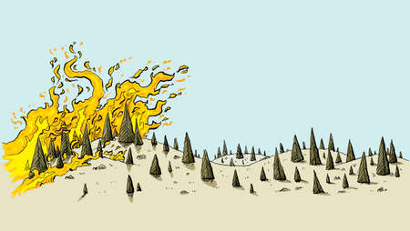 A cartoon of a fierce wildfire spreading over a dry, parched, drought-stricken landscape of evergreen trees on rolling hills. Standard-Bild - 94747197