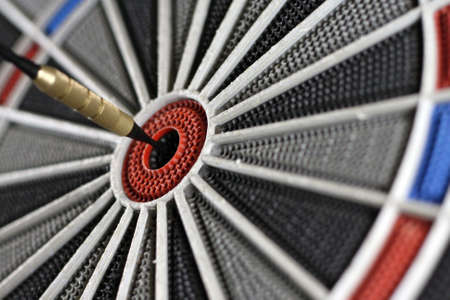 One dart smack in the center of the board. This can be used for business related themes also. Stock Photo - 4608053