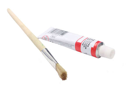 crafty: Paint tube with pencil Stock Photo