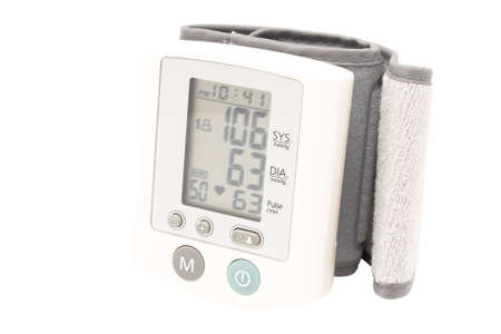 Blood pressure device. Electronic tensiometer and glucometer over white. Self-monitoring medical concept  Stock Photo - 5611952