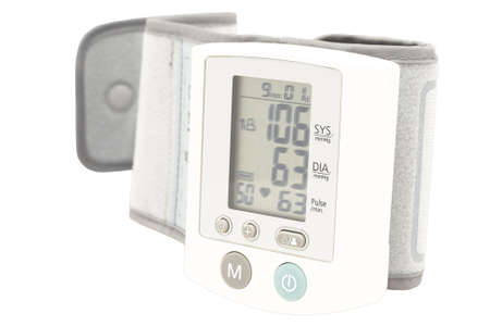 Blood pressure device. Electronic tensiometer and glucometer over white. Self-monitoring medical concept Stock Photo - 5611949