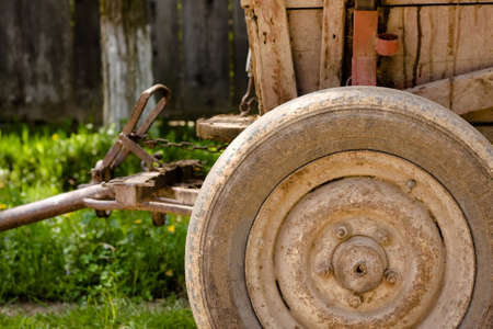 Detail of an old wagon wheel. photo
