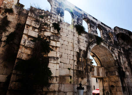 augustus: The silver gate of the Palace built by the ancient roman emperor Diocletian, Split Croatia. Stock Photo