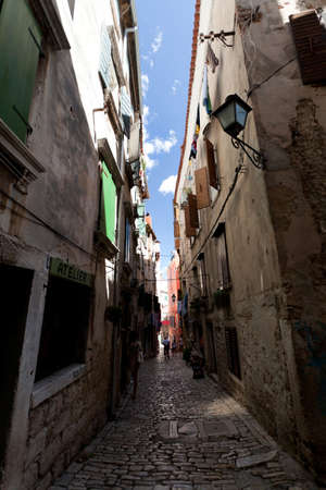 Narrow street in Rovinj Old City, Croatia.