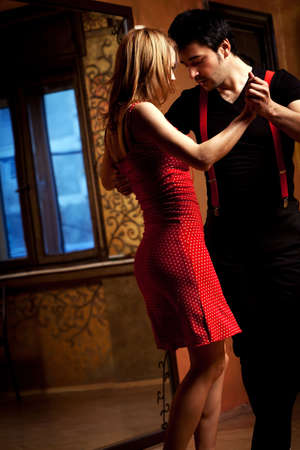 contemporary dance: A man and a woman in the most romantic dance: tango.