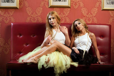 Two fashionable blond girls in tutu dress  photo
