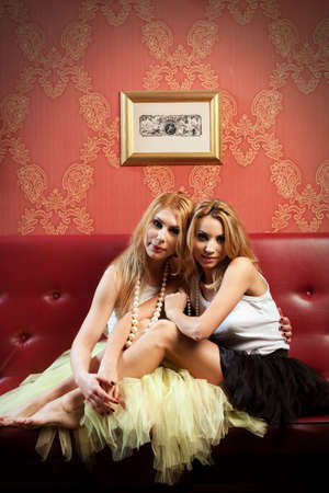 Two fashionable blond girls in tutu dress  Please see more images from the same shoot  photo