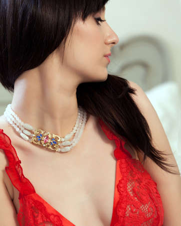 Young gorgeous brunette in sexy dress  Focus on the necklace Stock Photo - 13379273