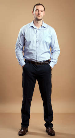Man wearing business outfit standing relaxed  Studio shot