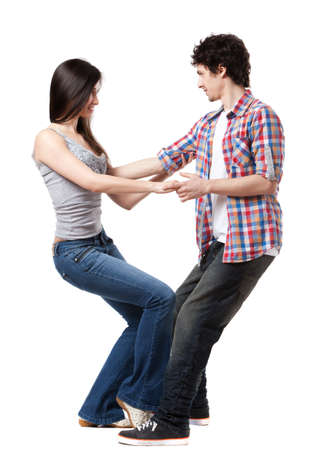 Social dance West Coast Swing  Demonstration of a leverage extension pose