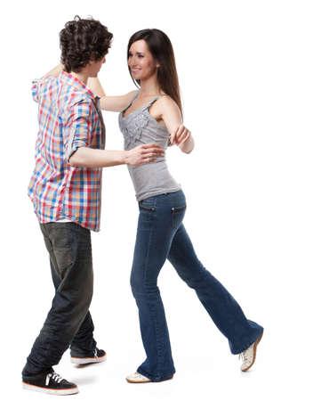 danza moderna: Social danza demostraci�n West Coast Swing de vuelta tuck pose