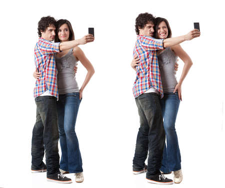 sexy woman standing: Young couple taking photo with their phone mobile isolated on white background  Two images with different expressions  Stock Photo