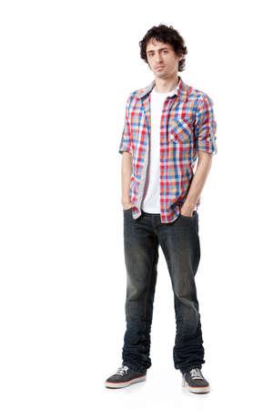 hombres jovenes: Hombre joven en ropa casual posando sobre fondo blanco Foto de archivo