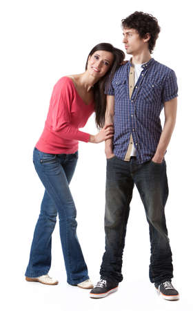 Lovely young couple having fun in studio  photo