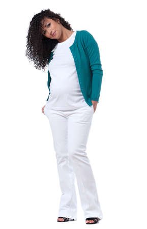 cute attitude: Pregnant caucasian woman with beautiful curly hair, with a smily cute attitude