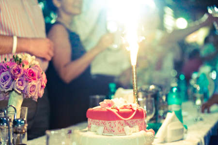 guests: Firework  on the wedding cake while the guests are all standing around the table. Stock Photo