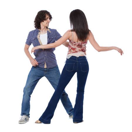 Social dance West Coast Swing Demonstration of a stretch pose Stock Photo