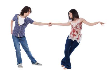 西海岸の Swing 社交ダンス。ストレッチのポーズのデモンストレーション。