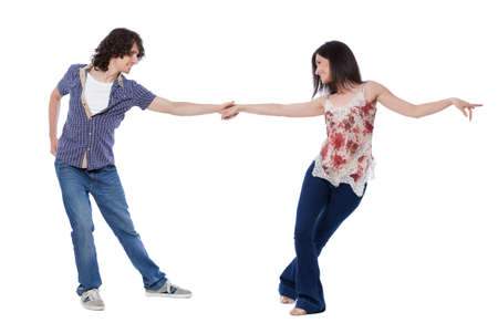 Social dance West Coast Swing. Demonstration of a stretch pose. Stock Photo