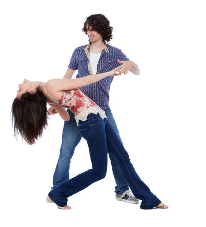 Social dance West Coast Swing. Demonstration of a drop pose. Stock Photo