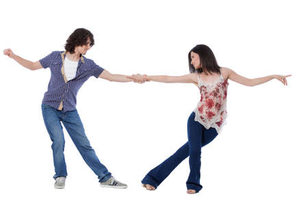 leverage: Social dance West Coast Swing. Demonstration of a leverage pose. Stock Photo