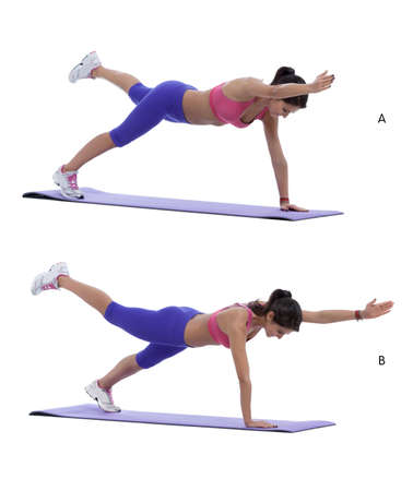 diagonally: Step by step instructions for abs: Without moving your body, lift the right arm and left leg off the floor to reach diagonally and hold for a second (A) Switch with left arm and right leg off the floor and hold for a second. (B)
