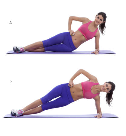 str: Step by step instructions for abs: With your weight supported on the elbow and side of the foot, lower your hips to the floor. (A) Lie on your side. Position yourself on your bottom elbow and the side of your foot. Lift your hips in the air, forming a str Stock Photo