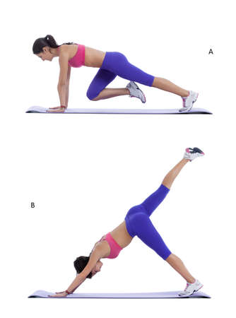 knee bend: Step by step instructions for abs: Get into full plank position. Lift your right leg off the floor. Contract your abs, round your back, and pull your left knee into your nose. Keeping the core, arms, and legs extremely strong. (A) Lift your right leg high