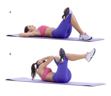 knees bent: Passo per passo le istruzioni per abs: Sdraiatevi sulla schiena con le ginocchia piegate, i piedi sul pavimento. Attraversare una caviglia sopra la parte superiore del vostro altro ginocchio. Portate la vostra testa braccia. (A) Curl il bacino verso il petto e sollevare le gambe il pi� vicino alla vostra