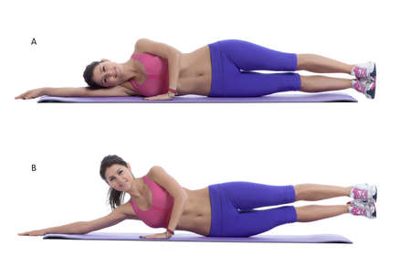 arm extended: Step by step instructions for abs: Lie on right side with right arm extended straight, palm pressed into the floor and head resting on arm. Press left palm into the floor in front of chest for support.(A) Raise your legs toward the sky, stopping at about