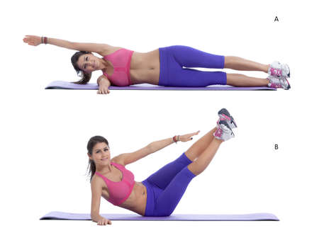 arm extended: Step by step instructions for abs: Lie on right side with right arm extended straight, palm pressed into the floor and head resting on arm. Press left palm into the floor in front of chest for support. (A) Extend left leg in front of hip (keep knee as str