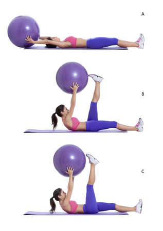 swiss ball: Step by step instructions for abs: Lie on your back with a swiss ball in your hands. (A) Curl your head and shoulders off of the mat as you straighten your legs to the ceiling; touch the swiss ball with your toes. Hold left leg as the other lowers down. (