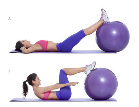 b ball: Step by step instructions for abs: Lie on your back with your hands under your head and put your legs on a swiss ball. (A) Engage your abs and sit up with your back on the floor. (B)