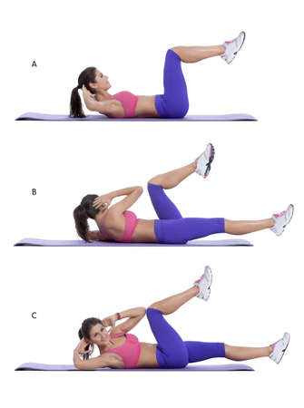 health woman: Step by step instructions for abs: Lie flat on your back and place your hands behind your head. Bend your knees and bring them up so that your thighs and hips form a 90 degree angle, calves parallel to the floor. With elbows flared lift your shoulder blad