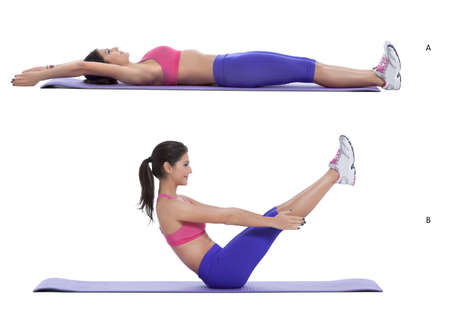 lie forward: Step by step instructions for abs: Lie on the ground with your legs straight and feet together. Bring both arms overhead and rest them beside your ears. (A) Simultaneously, lift your legs and torso off the ground. Bring your arms forward and reach for you