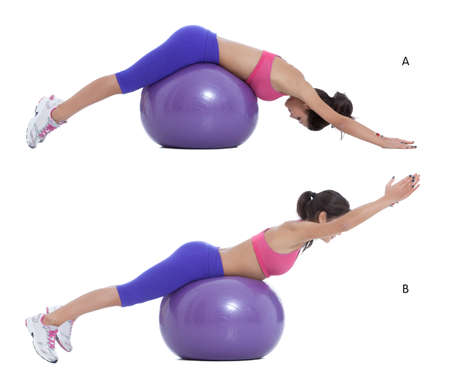 b ball: Step by step instructions for abs: Lie facedown on a Swiss ball, hands straight ahead, feet against a sturdy object. (A) Squeeze your glutes and lift your torso up until your body forms a straight line. (B)