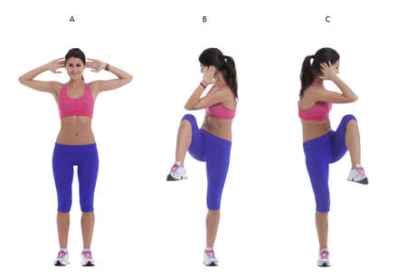 knee bend: Step by step instructions for abs: Stand with your feet shoulder width apart. Bend your arms and place your hands behind your head. (A) Move each knee to the opposite elbow. (B) Switch, alternate sides. (C)