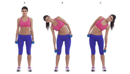 Step by step instructions: Stand with your feet hip-width apart holding a pair of dumbbells at your sides. (A)  Bend sideways to the right, squeezing your waist on the right side. Keep your neck as neutral as possible, looking forward not down. (B) Switch