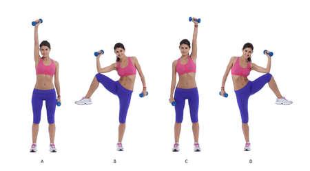 Abs 命令ステップバイ ステップ: 足肩幅離れて保持ダンベル、右腕で 。(A) 同時に腰のレベルで側を曲がって右膝を持ち上げ、上右下肘膝を満たすた