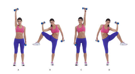 Step by step instructions for abs: Stand with feet shoulder-width apart holding dumbbells, right arm up. (A) Simultaneously lift bent right knee out to side at hip level and lower right elbow to meet knee. (B) Return to start and switch arm. (C) Repeat th