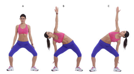 bend over: Step by step instructions: Stand up straight with feet shoulder width apart. (A) Bend over slowly to your right with your left arm stretching straight over your head and go as low as you can. (B) Switch side. ( C)