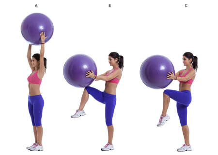 swiss ball: Step by step instructions for abs holding a swiss ball and lift legs, one by one.