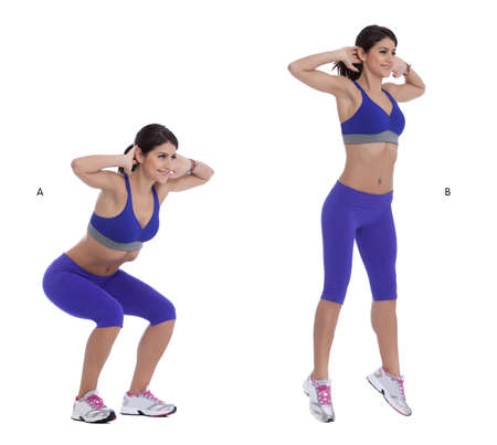 Step by step instructions: Stand with your feet shoulder, width apart and place your hands behind your head. (A) Squat until your thighs are parallel to the floor, then explode off upward, jumping as high as you can. (B) Banco de Imagens